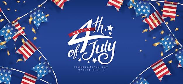 День независимости сша, баннер шаблон, американские флаги, гирлянды, декор, 4 июля