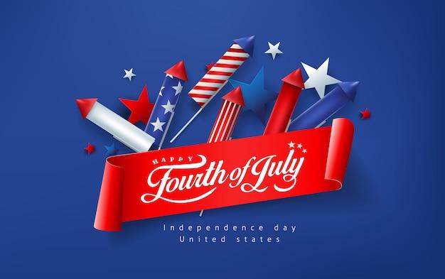 불꽃 놀이 대 한 독립 기념일 미국 배너 템플릿 로켓