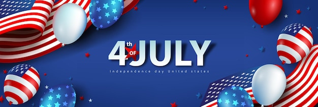 Independence day usa celebration banner with american balloons and flag of the united states