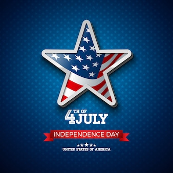 Independence day of the usa illustration with flag in 3d star.