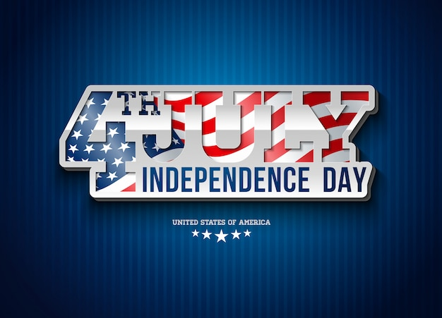 Independence day of the usa illustration with flag in 3d typography lettering.