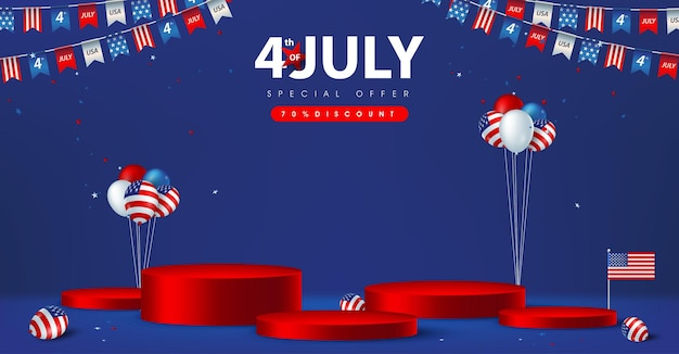 Independence day usa sale poster banner with product display cylindrical shape and american balloons