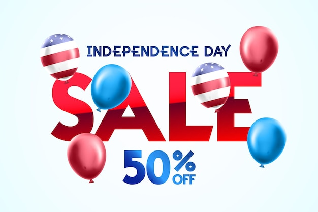 Independence day usa sale promotion banner template american balloons flag decor