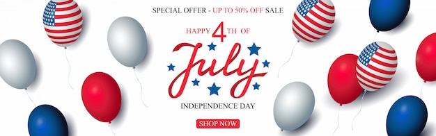Independence day usa sale vector banner