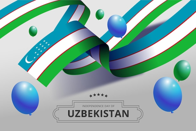 Independence day of uzbekistan with balloons