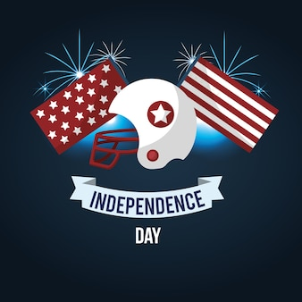Independence day with american helmet and ribbon