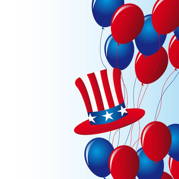 Independence day with balloons with hat vector illustation
