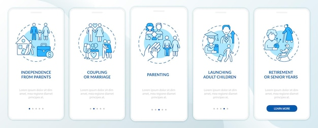 Independence from parents onboarding mobile app page screen. coupling and marriage walkthrough 5 steps graphic instructions with concepts. ui, ux, gui vector template with linear color illustrations