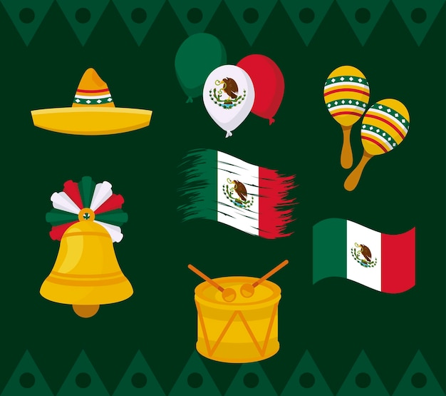 Independence mexico nine icons