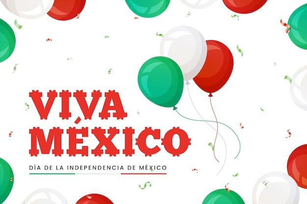 紙吹雪と独立メキシコ風船の背景