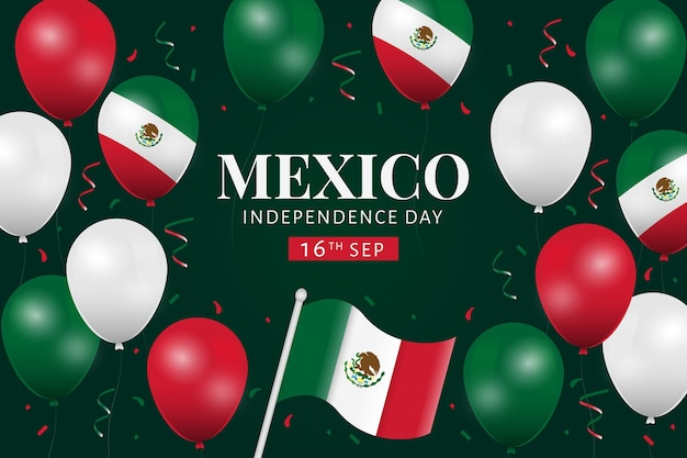 Independencia de méxico balloon background with confetti