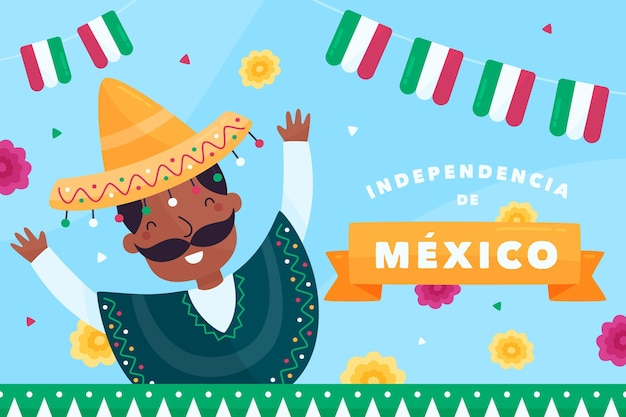 Независимость мексики плоский дизайн фона