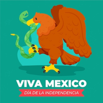 Independencia de méxico hand drawn background with animals