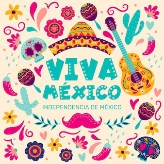 Independencia de méxico hand drawn background with musical instruments