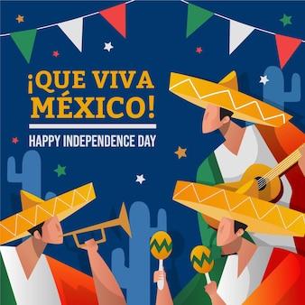 Independencia de méxico hand drawn background