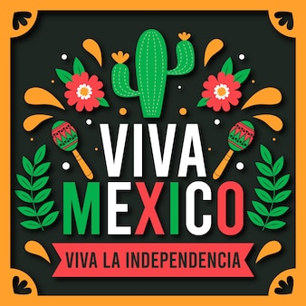 Independencia de méxico illustration in paper style