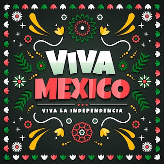 Independencia de méxico in paper style background