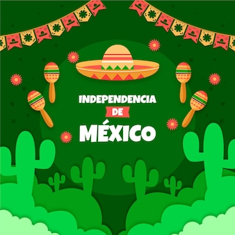 Independencia de méxico with garlands and hat