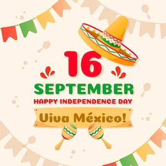 帽子と花輪のメキシコ独立