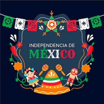 Independencia de méxico with hat and garland