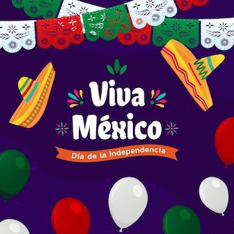 帽子とガーランドのメキシコ独立