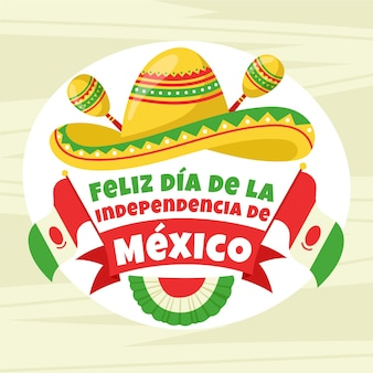 マラカスと帽子のメキシコ独立