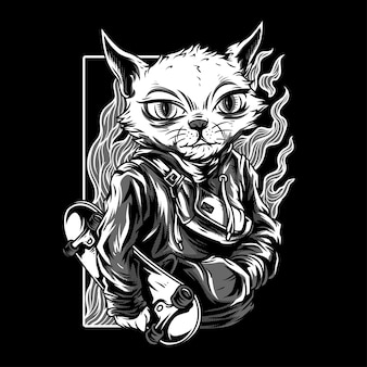 Independent cat black & white illustration