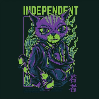 Independent cat illustration