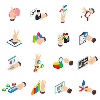 Index icons set, isometric style
