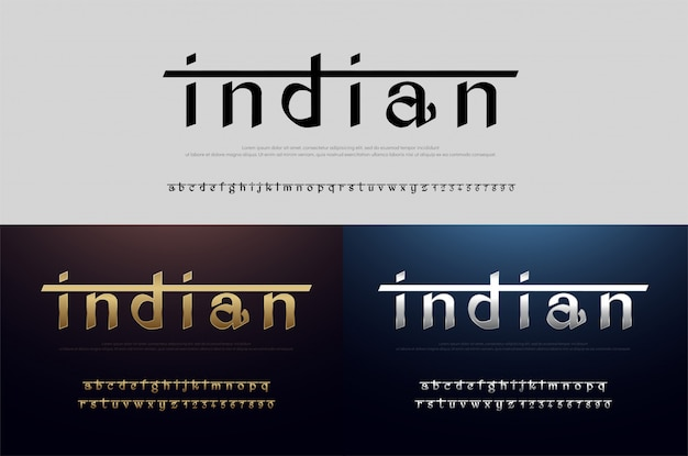 India alphabet font silver and gold. modern indian