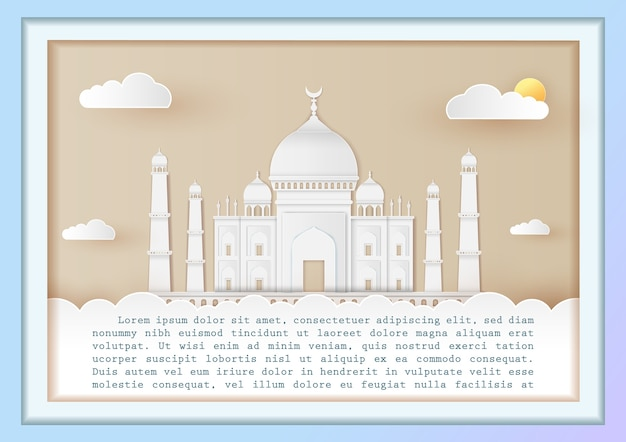 India architecture landmark agra on cloud background