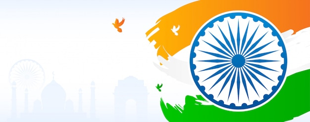 India banner background. indian flag with copy space.