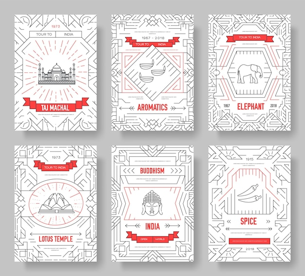 India  brochure cards thin line set. country travel template of flyear, book cover, banners.