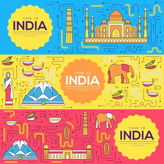 India brochure cards thin line set. country travel template of flyear, magazines, posters.