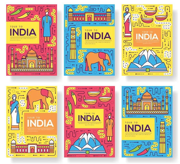 Набор тонкой линии карты брошюры индии. шаблон путешествия страны flyear, журналы, плакаты.