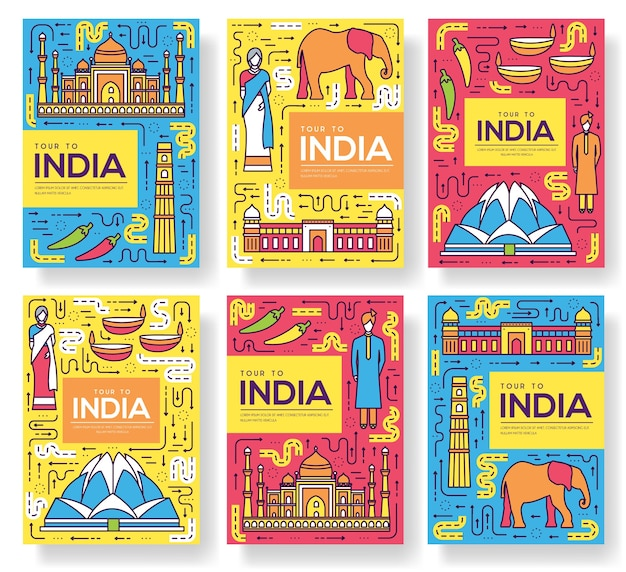 India brochure cards thin line set