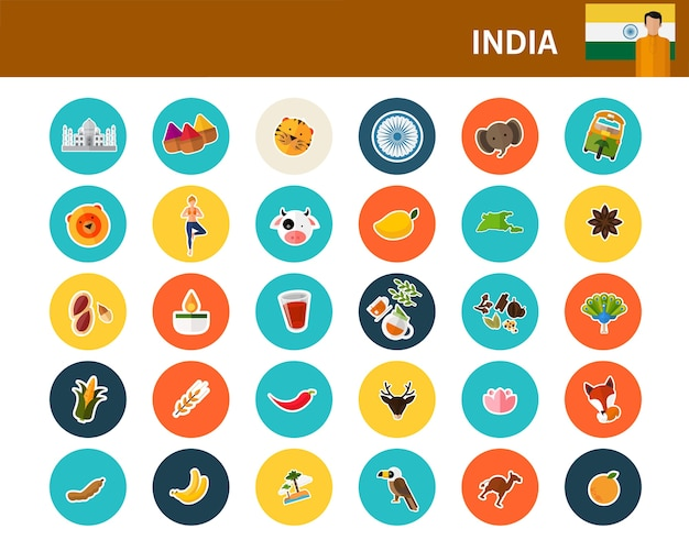 India concept flat icons