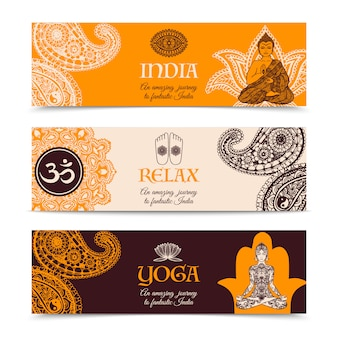 India culture 3 horizontal banners set