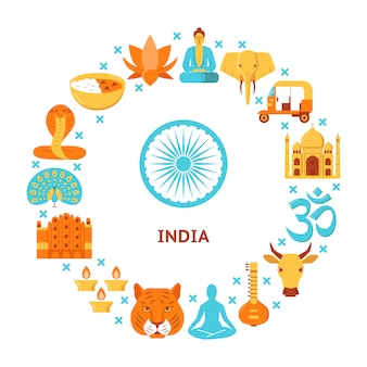India culture elements with rounded composition