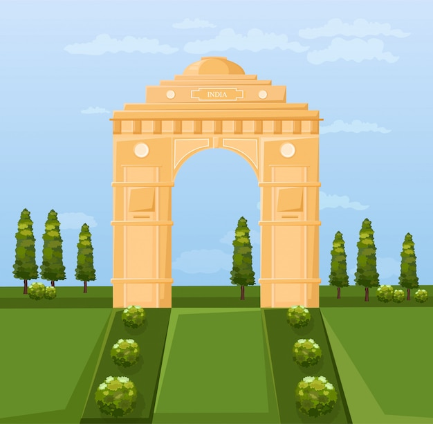 India famous gateway attraction Premium Vector
