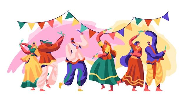 인도 축제. 시골에서 휴일을 축하하십시오. 전통적인 춤 스타일에는 고전, 민속 및 서양 양식의 세련되고 실험적인 융합이 포함됩니다. 플랫 만화 벡터 일러스트 레이션