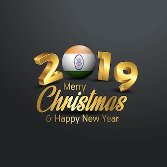 India flag 2019 merry christmas typography