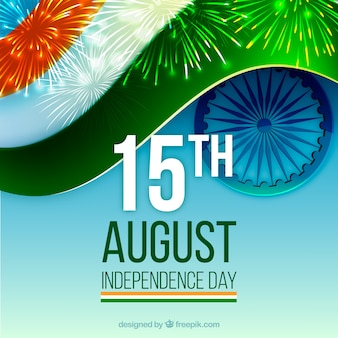 India flag background with fireworks