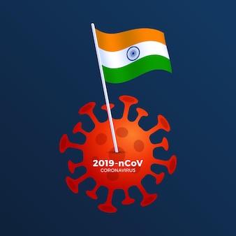 インドの旗コロナウイルス予防イラスト。