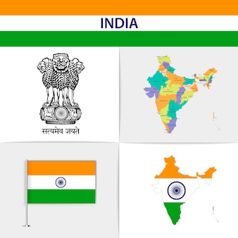 India flag map and coat of arms