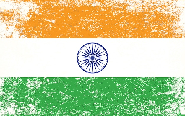 India flag with grunge style premium vector
