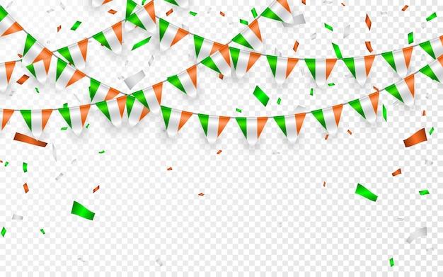 インドは紙吹雪で花輪の白い背景にフラグを立てる、インド建国記念日のお祝いテンプレートバナーの旗布を掛ける、