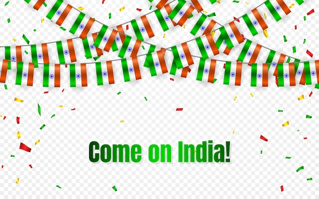 India garland flag with confetti on transparent background, hang bunting for celebration template banner,