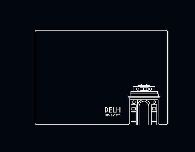 Ворота индии в нью-дели. триумфальная арка 1920-х годов и военный мемориал. линия искусства векторные иллюстрации.