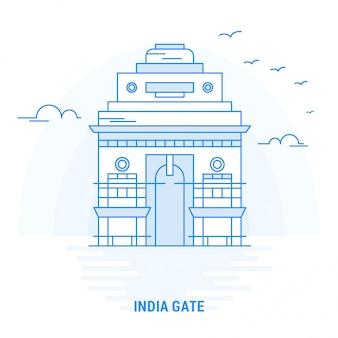 India gate blue landmark Premium Vector
